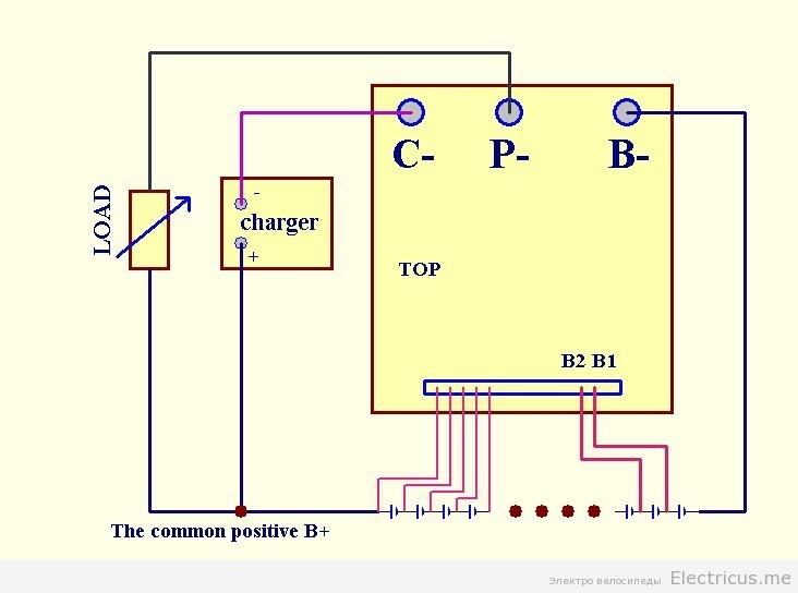 Схема подключения BMS платы электровелосипеда